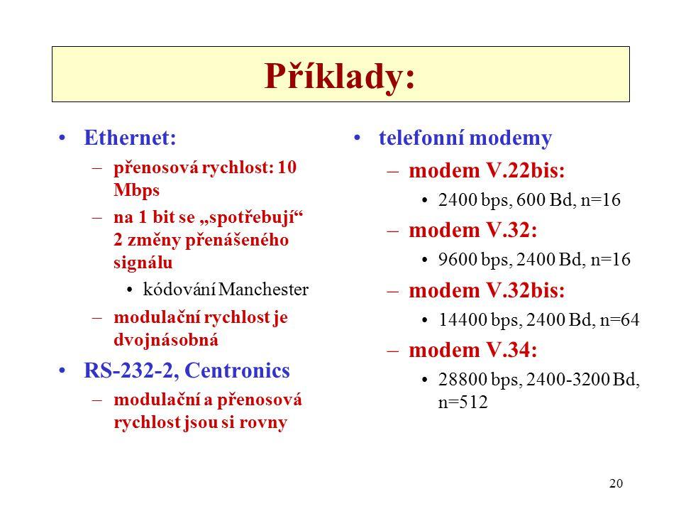 """20 Příklady: Ethernet: –přenosová rychlost: 10 Mbps –na 1 bit se """"spotřebují 2 změny přenášeného signálu kódování Manchester –modulační rychlost je dvojnásobná RS-232-2, Centronics –modulační a přenosová rychlost jsou si rovny telefonní modemy –modem V.22bis: 2400 bps, 600 Bd, n=16 –modem V.32: 9600 bps, 2400 Bd, n=16 –modem V.32bis: 14400 bps, 2400 Bd, n=64 –modem V.34: 28800 bps, 2400-3200 Bd, n=512"""