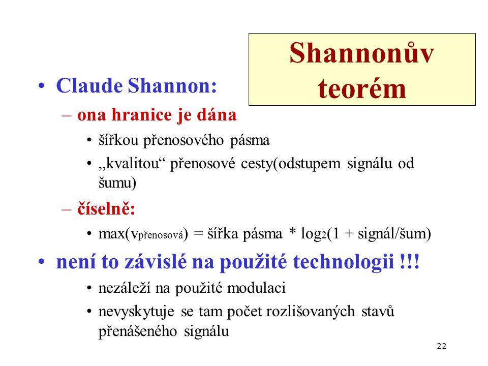 """22 Shannonův teorém Claude Shannon: –ona hranice je dána šířkou přenosového pásma """"kvalitou přenosové cesty(odstupem signálu od šumu) –číselně: max(v přenosová ) = šířka pásma * log 2 (1 + signál/šum) není to závislé na použité technologii !!."""
