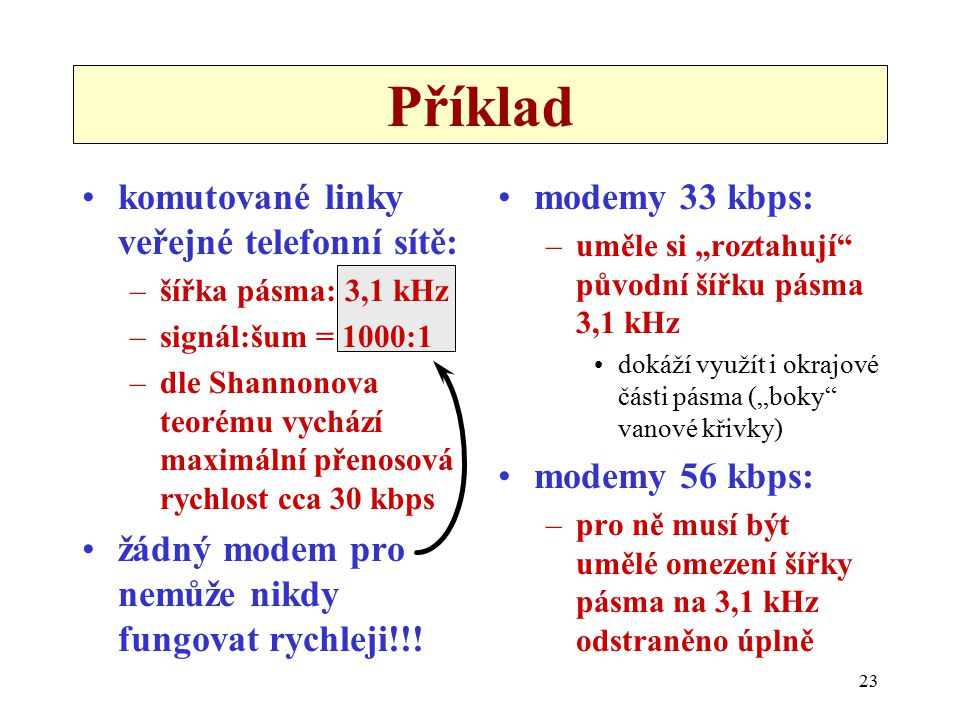 23 komutované linky veřejné telefonní sítě: –šířka pásma: 3,1 kHz –signál:šum = 1000:1 –dle Shannonova teorému vychází maximální přenosová rychlost cc