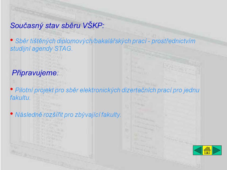 Současný stav sběru VŠKP: Následně rozšířit pro zbývající fakulty. Pilotní projekt pro sběr elektronických dizertačních prací pro jednu fakultu. Sběr