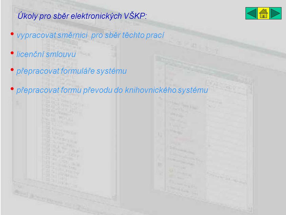 přepracovat formuláře systému Úkoly pro sběr elektronických VŠKP: licenční smlouvu vypracovat směrnici pro sběr těchto prací přepracovat formu převodu do knihovnického systému