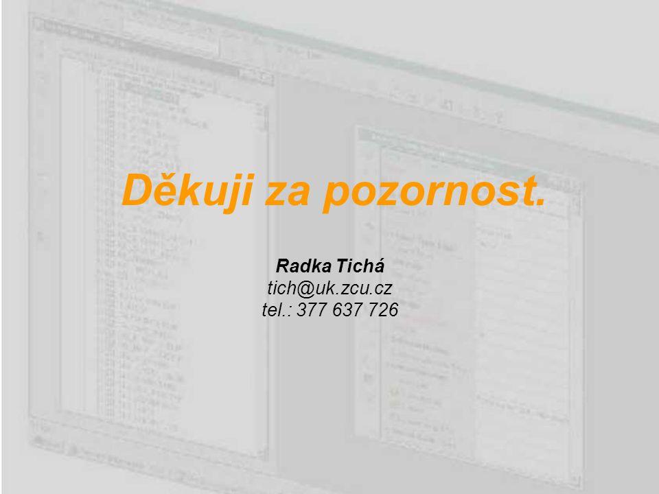 Děkuji za pozornost. Radka Tichá tich@uk.zcu.cz tel.: 377 637 726