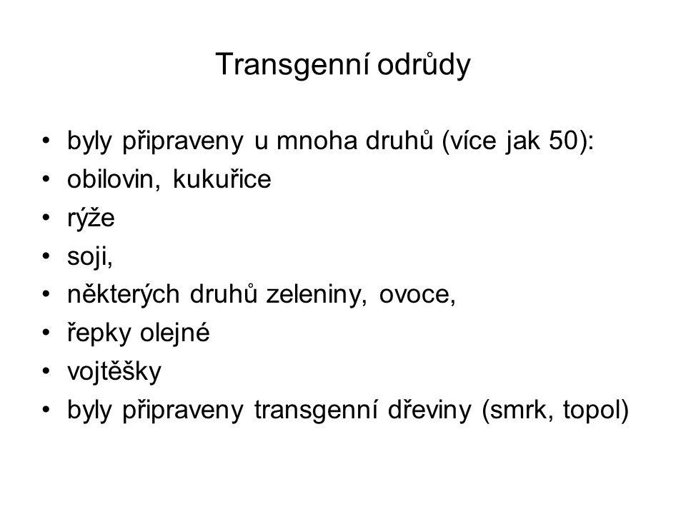 Transgenní odrůdy byly připraveny u mnoha druhů (více jak 50): obilovin, kukuřice rýže soji, některých druhů zeleniny, ovoce, řepky olejné vojtěšky by