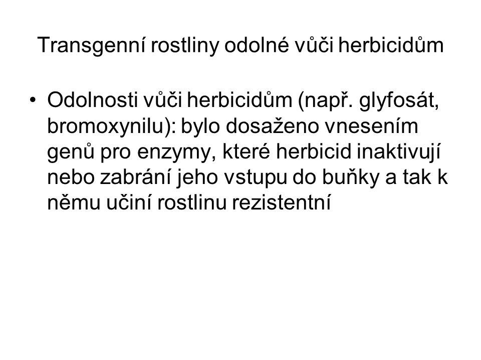 Transgenní rostliny odolné vůči herbicidům Odolnosti vůči herbicidům (např. glyfosát, bromoxynilu): bylo dosaženo vnesením genů pro enzymy, které herb