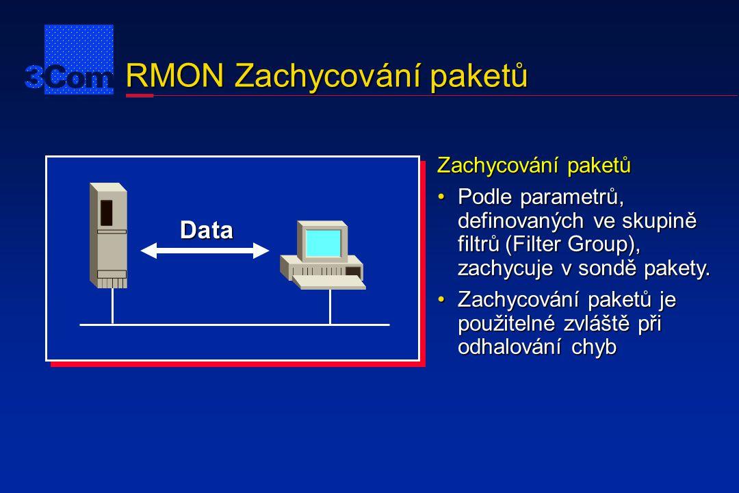 RMON Zachycování paketů Data Zachycování paketů Podle parametrů, definovaných ve skupině filtrů (Filter Group), zachycuje v sondě pakety.Podle paramet