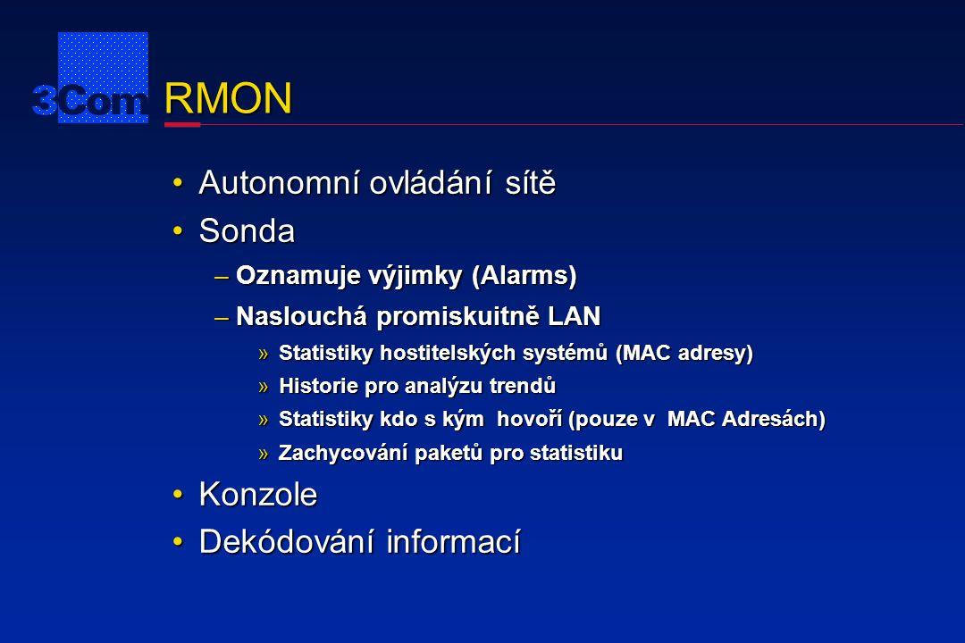 RMON Autonomní ovládání sítěAutonomní ovládání sítě SondaSonda –Oznamuje výjimky (Alarms) –Naslouchá promiskuitně LAN »Statistiky hostitelských systém