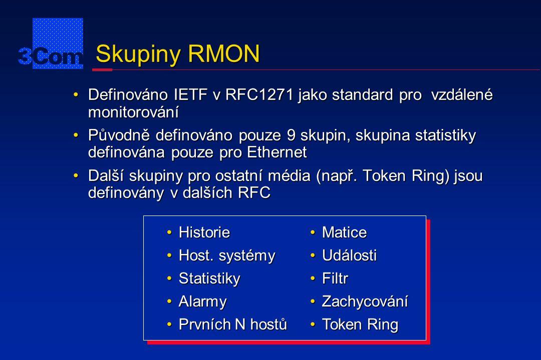 Token Ring RMON Definován v RFC1513 jako další 4 skupiny k těm, které jsou definovány v RFC1271Definován v RFC1513 jako další 4 skupiny k těm, které jsou definovány v RFC1271 Nadmnožina ne-Ethernetovské specifikace z RFC1271Nadmnožina ne-Ethernetovské specifikace z RFC1271 Přidány statistiky pro Token Ring MAC vrstvu a statistiky promiskuitního režimu pro kruhové uspořádáníPřidány statistiky pro Token Ring MAC vrstvu a statistiky promiskuitního režimu pro kruhové uspořádání Přidány skupiny pro zaznamenání statistik stanic, jejich konfigurace stanic a určení pořadí stanic v kruhuPřidány skupiny pro zaznamenání statistik stanic, jejich konfigurace stanic a určení pořadí stanic v kruhu Pozorně sledováno 3Com od počátků návrhuPozorně sledováno 3Com od počátků návrhu