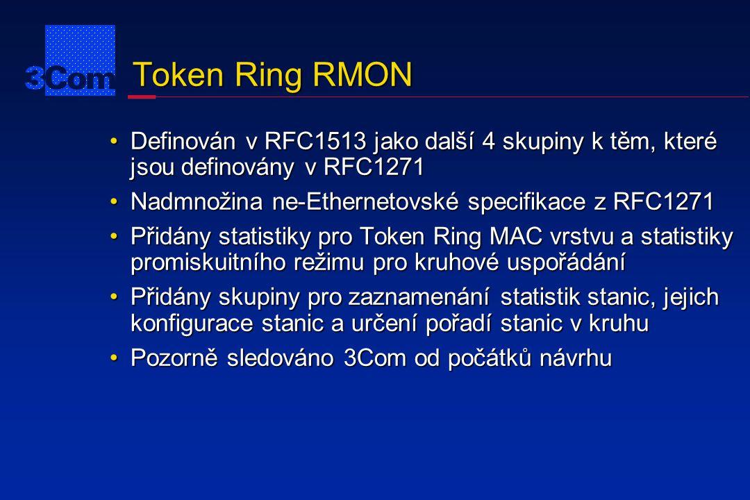 Shrnutí RMON StatistikyÚplné statistiky LANStatistikyÚplné statistiky LAN HistorieČasově závislé statistiky pro analýzu trendůHistorieČasově závislé statistiky pro analýzu trendů AlarmyZpracování prahových hodnotAlarmyZpracování prahových hodnot HostéStatistiky podle MAC AdresHostéStatistiky podle MAC Adres HostTopNUtříděné statistiky podle MAC adresHostTopNUtříděné statistiky podle MAC adres MaticeMatice přenosů (kdo přenáší komu)MaticeMatice přenosů (kdo přenáší komu) UdálostiMechanizmus záznamu událostíUdálostiMechanizmus záznamu událostí FiltryMechanizmus výběru paketůFiltryMechanizmus výběru paketů Zachycování paketů Zachycování paketů podle zadaného filtruZachycování paketů Zachycování paketů podle zadaného filtru Token RingRozšíření pro specifickou oblast Token RinguToken RingRozšíření pro specifickou oblast Token Ringu