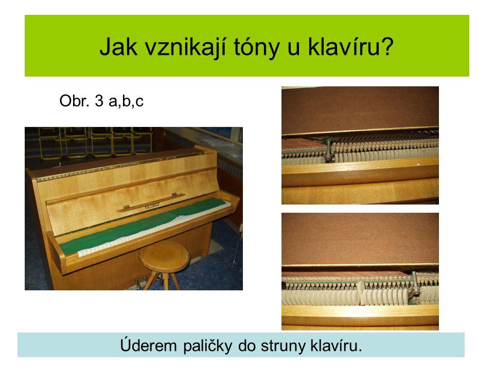 Jak vznikají tóny u klavíru? Úderem paličky do struny klavíru. Obr. 3 a,b,c
