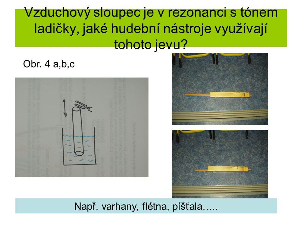 Vzduchový sloupec je v rezonanci s tónem ladičky, jaké hudební nástroje využívají tohoto jevu? Obr. 4 a,b,c Např. varhany, flétna, píšťala…..
