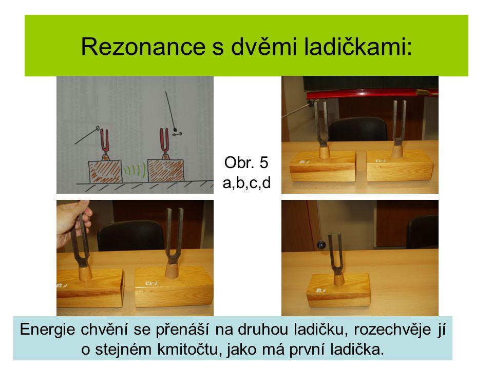 Rezonance s dvěmi ladičkami: Energie chvění se přenáší na druhou ladičku, rozechvěje jí o stejném kmitočtu, jako má první ladička. Obr. 5 a,b,c,d