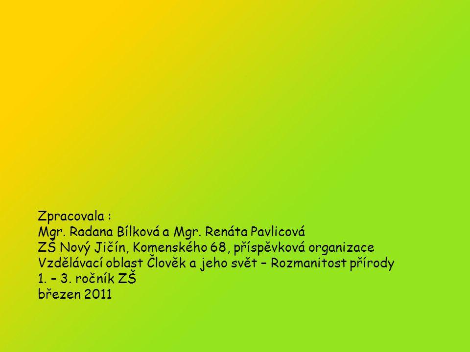 Zpracovala : Mgr.Radana Bílková a Mgr. Renáta Pavlicová Březen 2011 Zpracovala : Mgr.
