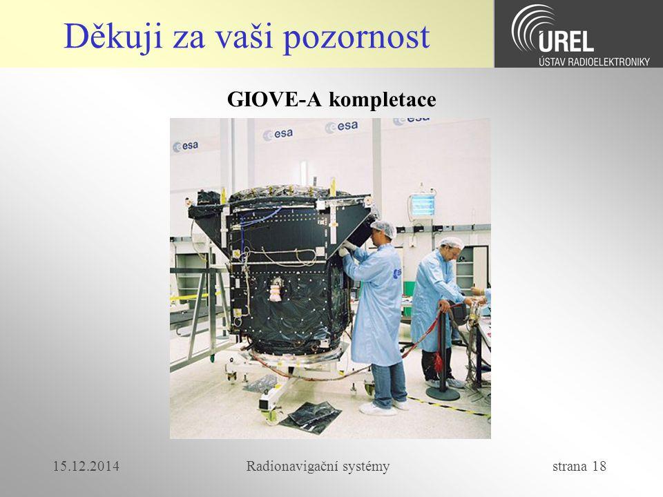 15.12.2014Radionavigační systémy strana 18 Děkuji za vaši pozornost GIOVE-A kompletace