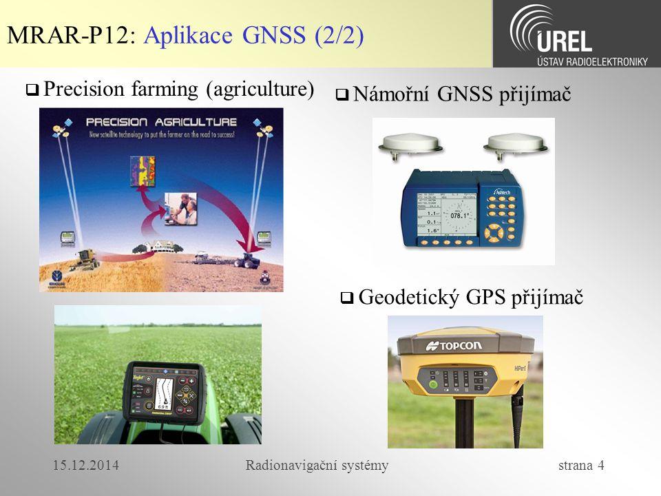 15.12.2014Radionavigační systémy strana 4 MRAR-P12: Aplikace GNSS (2/2)  Precision farming (agriculture)  Námořní GNSS přijímač  Geodetický GPS přijímač