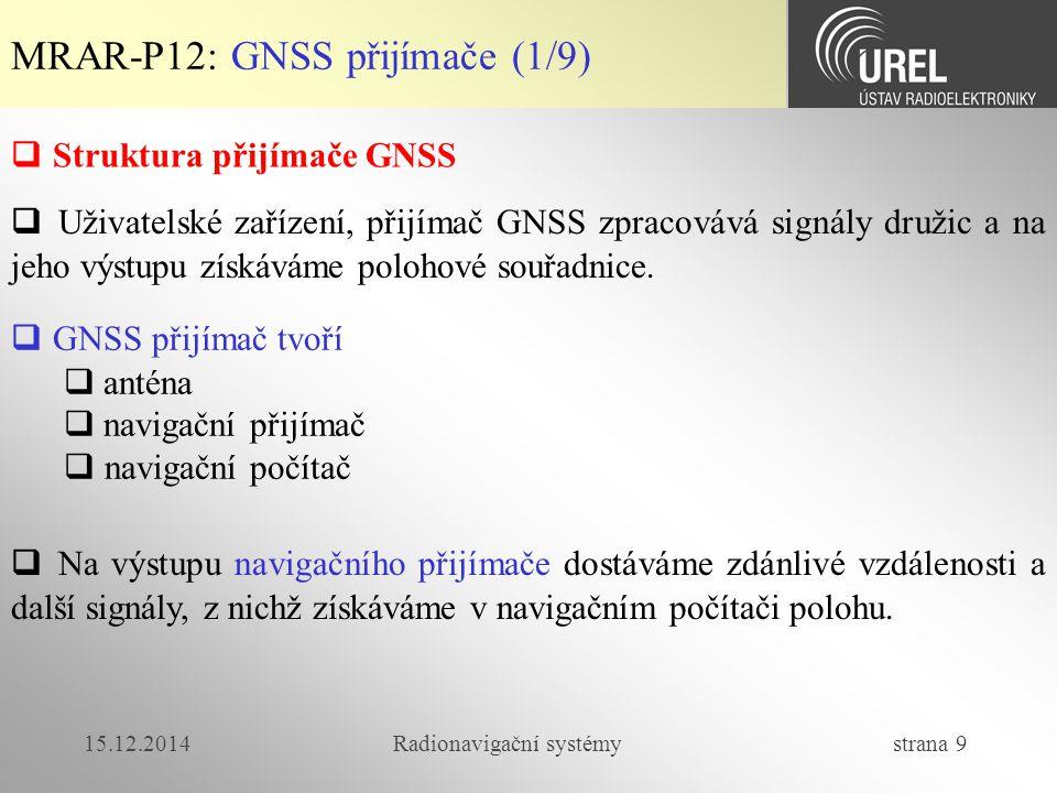 15.12.2014Radionavigační systémy strana 9 MRAR-P12: GNSS přijímače (1/9)  Struktura přijímače GNSS  Uživatelské zařízení, přijímač GNSS zpracovává signály družic a na jeho výstupu získáváme polohové souřadnice.