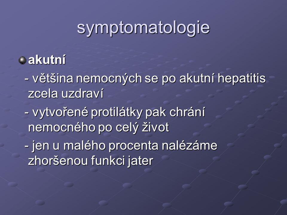 Diagnostika anamnéza nemoc špinavých rukou nemoc špinavých rukou fyzikální vyšetření ikterus (žluté bělmo, sliznice a kůže), tmavá moč, světlá stolice, hepatomegalie laboratorní vyšetření zvýšené hodnoty ALT, AST, ALP,, bilirubinu v séru přítomnost bilirubinu a urobilinogenu v moči vyšetření antigenů jednotlivých virů hepatitidy (HBsAg, vyšetření protilátek proti jednotlivým virům, anti HAV stanovení autoimunitních protilátek zobrazovací metody UZ jater další biopsie jater
