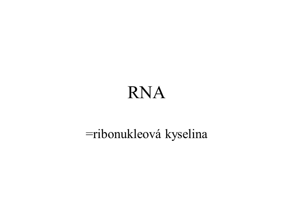 RNA =ribonukleová kyselina
