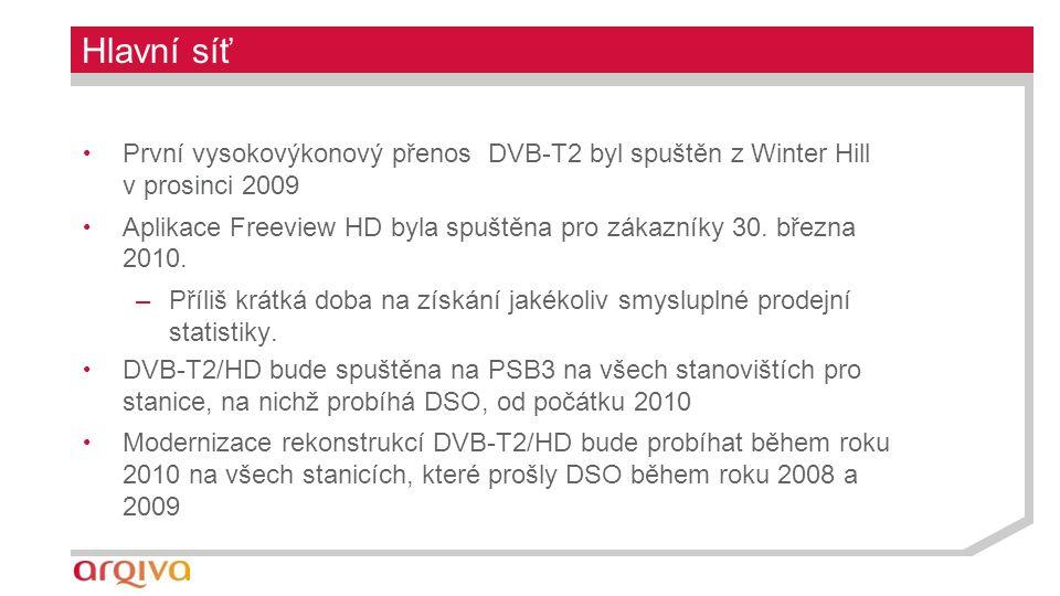 Hlavní síť První vysokovýkonový přenos DVB-T2 byl spuštěn z Winter Hill v prosinci 2009 Aplikace Freeview HD byla spuštěna pro zákazníky 30.