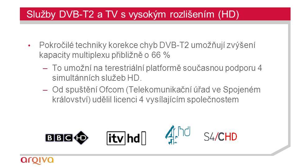 Služby DVB-T2 a TV s vysokým rozlišením (HD) Pokročilé techniky korekce chyb DVB-T2 umožňují zvýšení kapacity multiplexu přibližně o 66 % –To umožní na terestriální platformě současnou podporu 4 simultánních služeb HD.