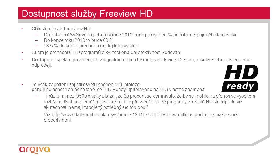 Dostupnost služby Freeview HD Oblasti pokryté Freeview HD –Do zahájení Světového poháru v roce 2010 bude pokryto 50 % populace Spojeného království –Do konce roku 2010 to bude 60 % –98,5 % do konce přechodu na digitální vysílání Cílem je přenášet 6 HD programů díky zdokonalení efektivnosti kódování Dostupnost spektra po změnách v digitálních sítích by měla vést k více T2 sítím, nikoliv k jeho následnému odprodeji.