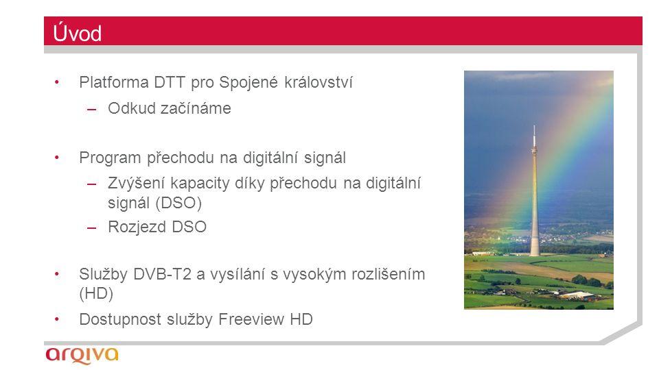 Úvod Platforma DTT pro Spojené království –Odkud začínáme Program přechodu na digitální signál –Zvýšení kapacity díky přechodu na digitální signál (DSO) –Rozjezd DSO Služby DVB-T2 a vysílání s vysokým rozlišením (HD) Dostupnost služby Freeview HD