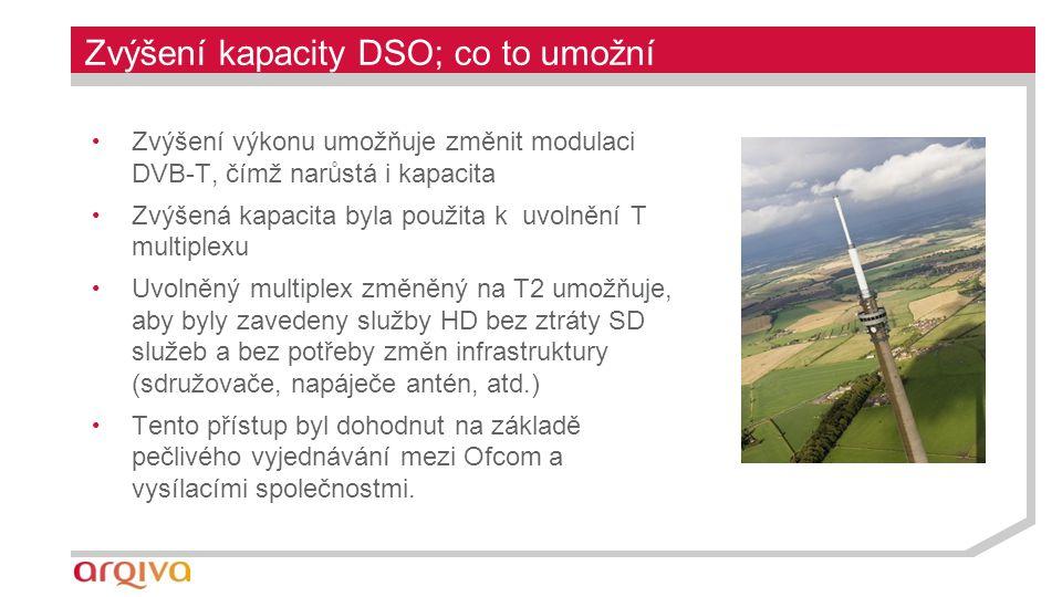 Zvýšení kapacity DSO; co to umožní Zvýšení výkonu umožňuje změnit modulaci DVB-T, čímž narůstá i kapacita Zvýšená kapacita byla použita k uvolnění T multiplexu Uvolněný multiplex změněný na T2 umožňuje, aby byly zavedeny služby HD bez ztráty SD služeb a bez potřeby změn infrastruktury (sdružovače, napáječe antén, atd.) Tento přístup byl dohodnut na základě pečlivého vyjednávání mezi Ofcom a vysílacími společnostmi.