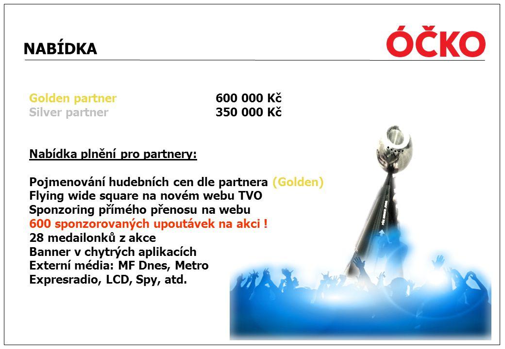 NABÍDKA Golden partner 600 000 Kč Silver partner 350 000 Kč Nabídka plnění pro partnery: Pojmenování hudebních cen dle partnera (Golden) Flying wide s