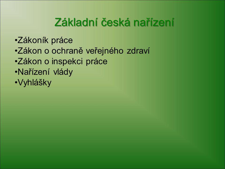 Přehled předpisů v ČR Nařízení vlády č.
