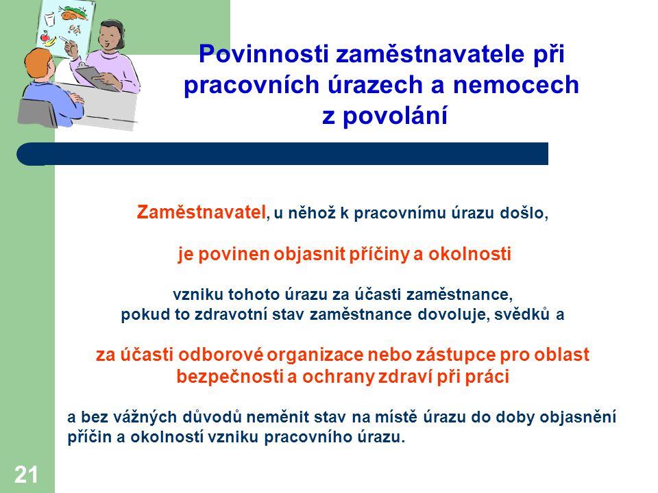 21 Povinnosti zaměstnavatele při pracovních úrazech a nemocech z povolání Zaměstnavatel, u něhož k pracovnímu úrazu došlo, je povinen objasnit příčiny