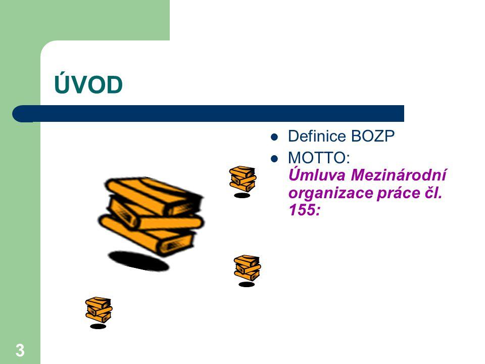 3 ÚVOD Definice BOZP MOTTO: Úmluva Mezinárodní organizace práce čl. 155: