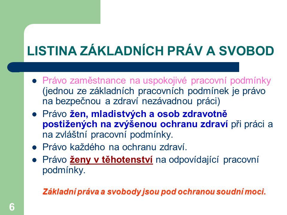 7 BOZP v ustanoveních vybraných obecně závazných právních předpisů Usnesení předsednictva ČNR č.