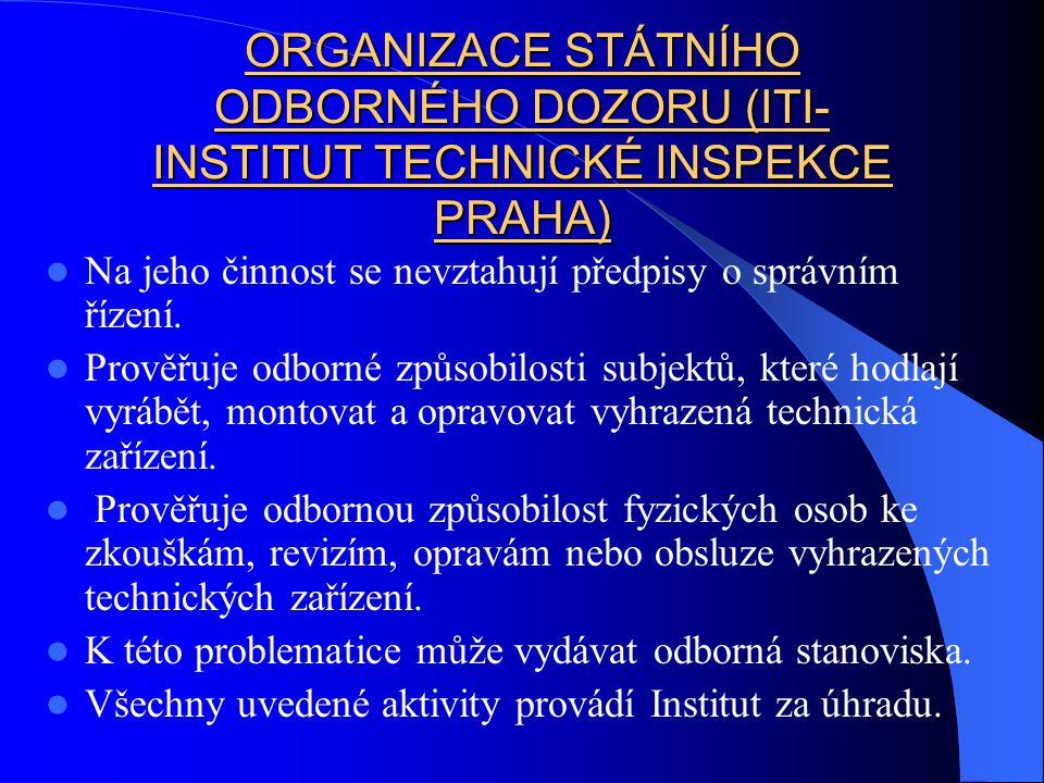 ORGANIZACE STÁTNÍHO ODBORNÉHO DOZORU (ITI- INSTITUT TECHNICKÉ INSPEKCE PRAHA) Na jeho činnost se nevztahují předpisy o správním řízení.