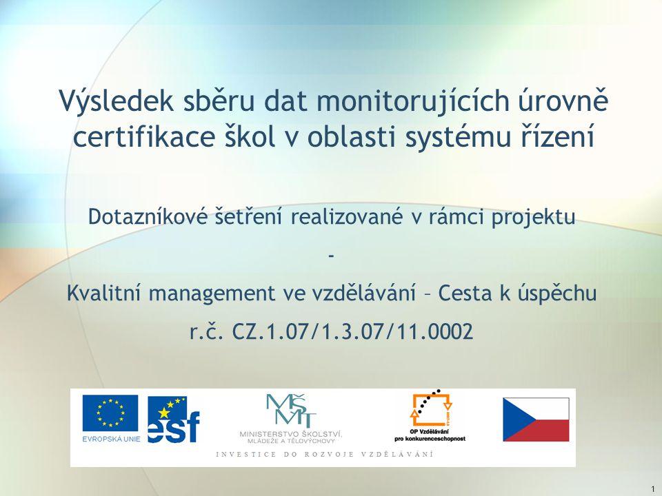 1 Výsledek sběru dat monitorujících úrovně certifikace škol v oblasti systému řízení Dotazníkové šetření realizované v rámci projektu - Kvalitní management ve vzdělávání – Cesta k úspěchu r.č.