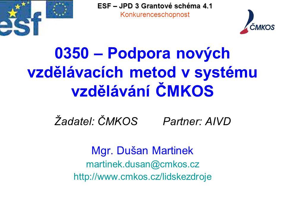 0350 – Podpora nových vzdělávacích metod v systému vzdělávání ČMKOS Žadatel: ČMKOS Partner: AIVD Mgr.