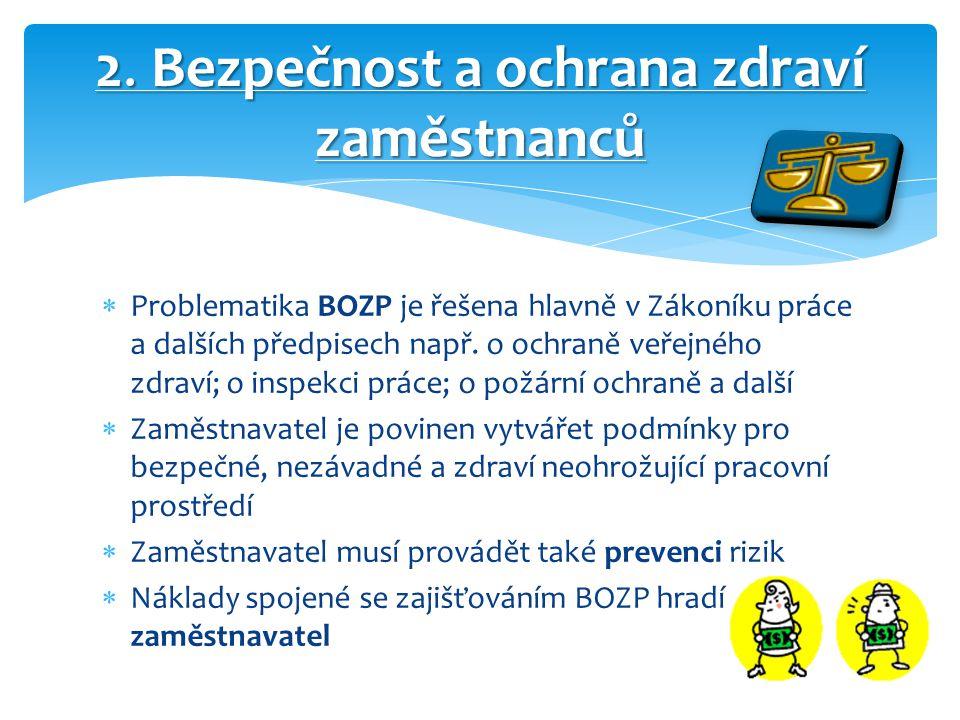  Problematika BOZP je řešena hlavně v Zákoníku práce a dalších předpisech např. o ochraně veřejného zdraví; o inspekci práce; o požární ochraně a dal
