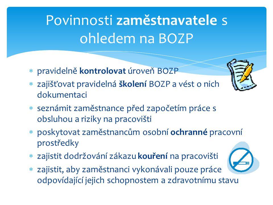  pravidelně kontrolovat úroveň BOZP  zajišťovat pravidelná školení BOZP a vést o nich dokumentaci  seznámit zaměstnance před započetím práce s obsl