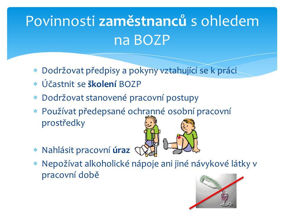  Dodržovat předpisy a pokyny vztahující se k práci  Účastnit se školení BOZP  Dodržovat stanovené pracovní postupy  Používat předepsané ochranné o