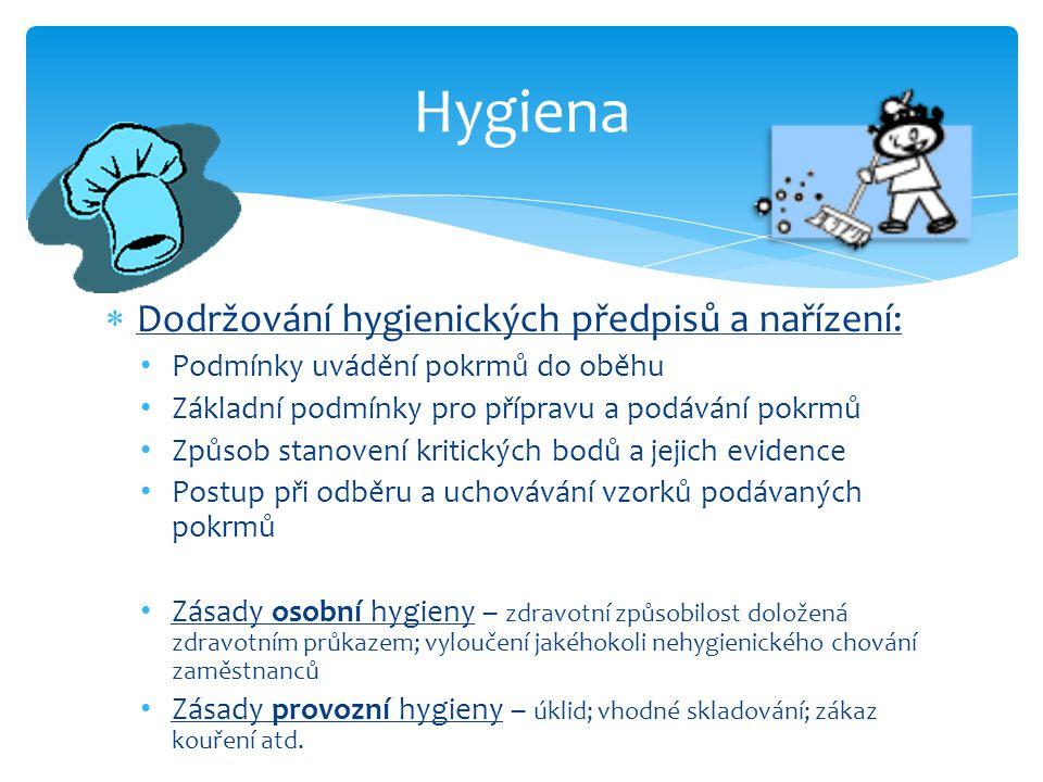  Dodržování hygienických předpisů a nařízení: Podmínky uvádění pokrmů do oběhu Základní podmínky pro přípravu a podávání pokrmů Způsob stanovení kritických bodů a jejich evidence Postup při odběru a uchovávání vzorků podávaných pokrmů Zásady osobní hygieny – zdravotní způsobilost doložená zdravotním průkazem; vyloučení jakéhokoli nehygienického chování zaměstnanců Zásady provozní hygieny – úklid; vhodné skladování; zákaz kouření atd.