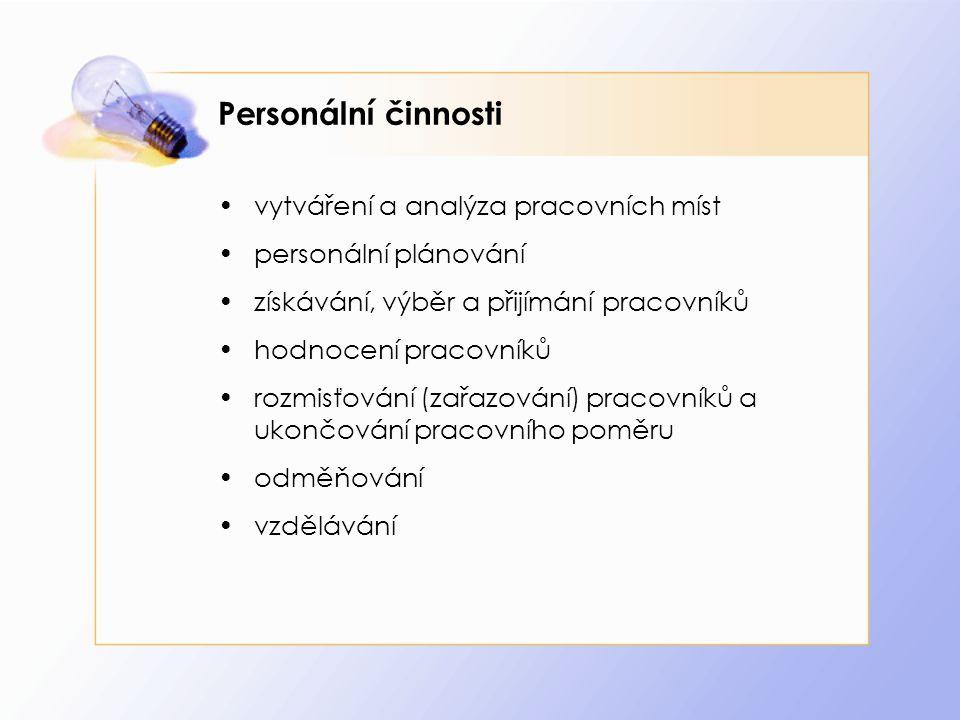 Personální činnosti vytváření a analýza pracovních míst personální plánování získávání, výběr a přijímání pracovníků hodnocení pracovníků rozmisťování