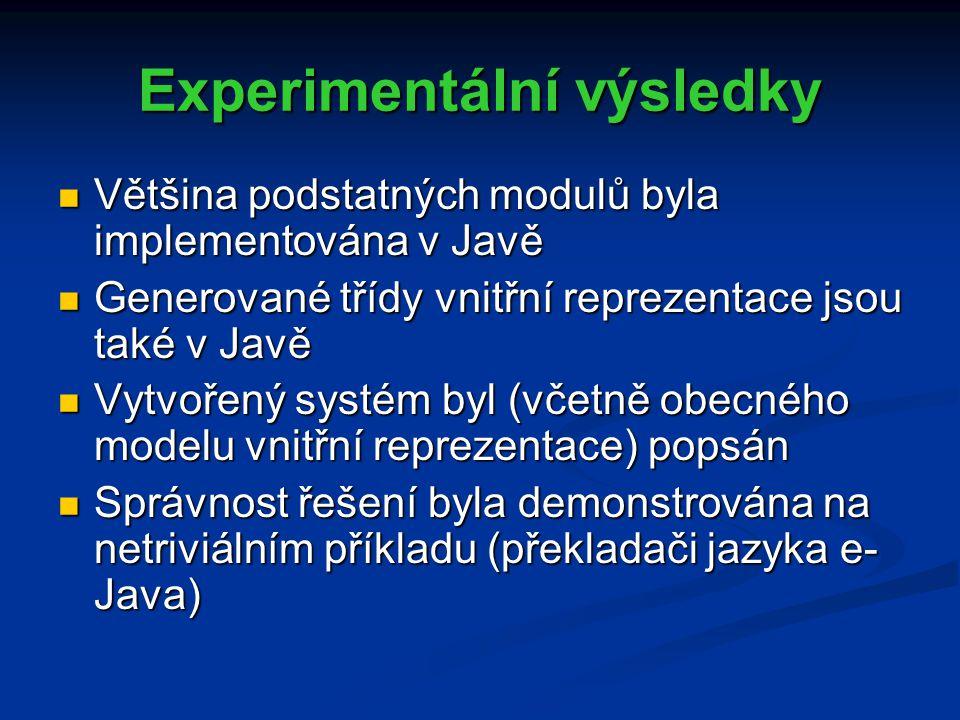 Experimentální výsledky Většina podstatných modulů byla implementována v Javě Většina podstatných modulů byla implementována v Javě Generované třídy vnitřní reprezentace jsou také v Javě Generované třídy vnitřní reprezentace jsou také v Javě Vytvořený systém byl (včetně obecného modelu vnitřní reprezentace) popsán Vytvořený systém byl (včetně obecného modelu vnitřní reprezentace) popsán Správnost řešení byla demonstrována na netriviálním příkladu (překladači jazyka e- Java) Správnost řešení byla demonstrována na netriviálním příkladu (překladači jazyka e- Java)
