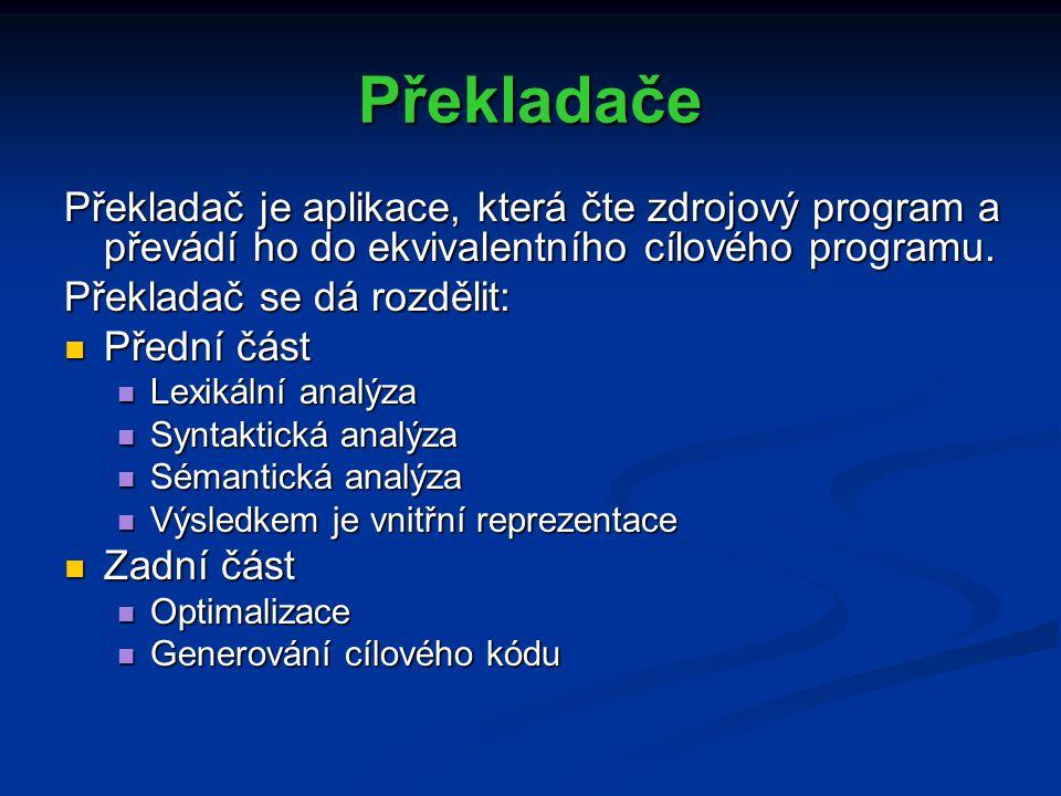 Překladače Překladač je aplikace, která čte zdrojový program a převádí ho do ekvivalentního cílového programu.
