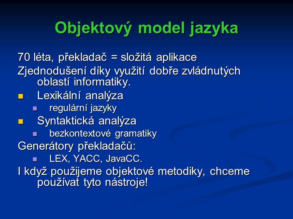 Objektový model jazyka 70 léta, překladač = složitá aplikace Zjednodušení díky využití dobře zvládnutých oblastí informatiky.