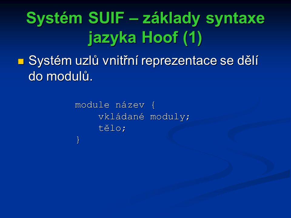 Systém SUIF – základy syntaxe jazyka Hoof (1) Systém uzlů vnitřní reprezentace se dělí do modulů.