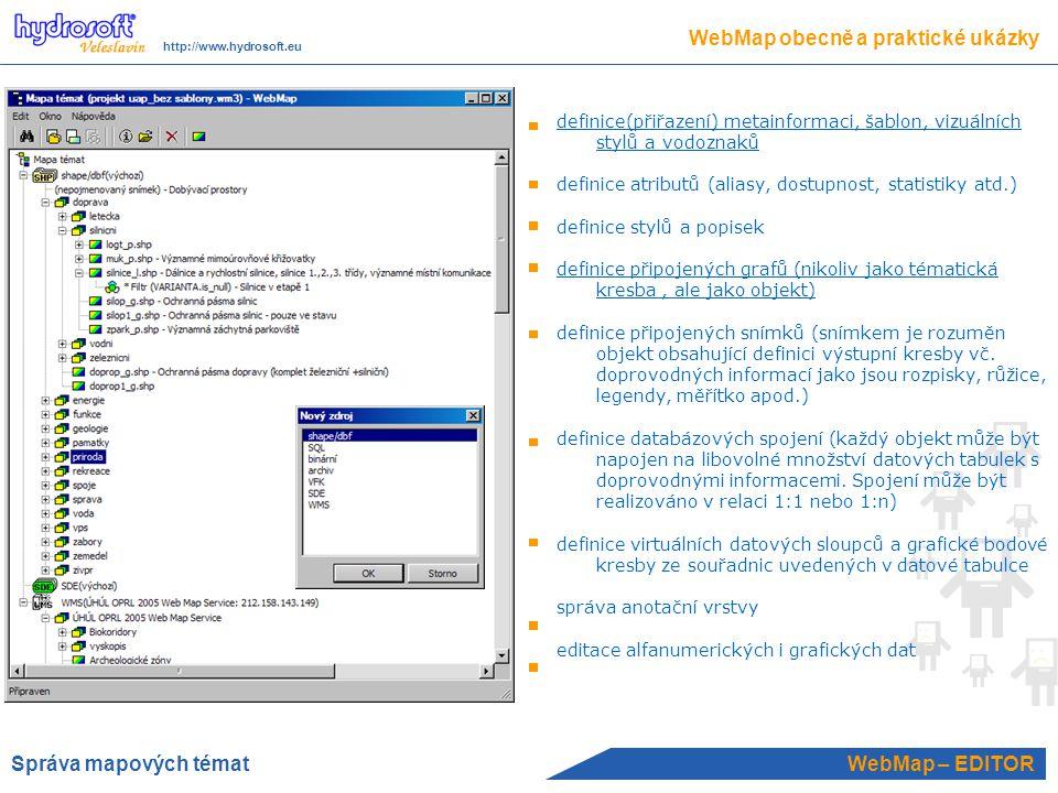 WebMap – EDITOR definice(přiřazení) metainformaci, šablon, vizuálních stylů a vodoznaků definice atributů (aliasy, dostupnost, statistiky atd.) definice stylů a popisek definice připojených grafů (nikoliv jako tématická kresba, ale jako objekt) definice připojených snímků (snímkem je rozuměn objekt obsahující definici výstupní kresby vč.