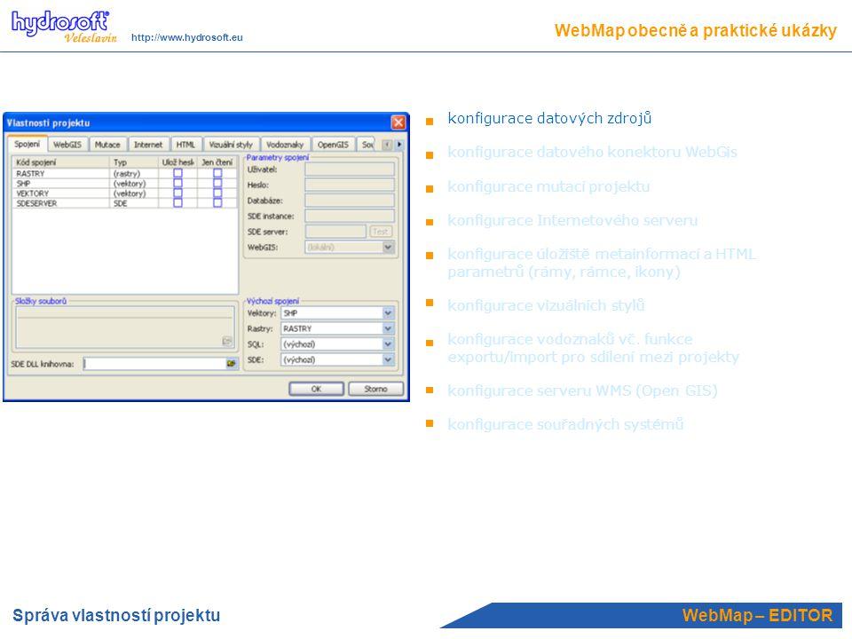 WebMap – EDITOR WebMap obecně a praktické ukázky http://www.hydrosoft.eu definice připojených grafů (nikoliv jako tématická kresba, ale jako objekt) http://www.wmap.cz/sop_otava definice připojených šablon k mapovému tématu (prof_l.shp) je připojena šablona, tj.