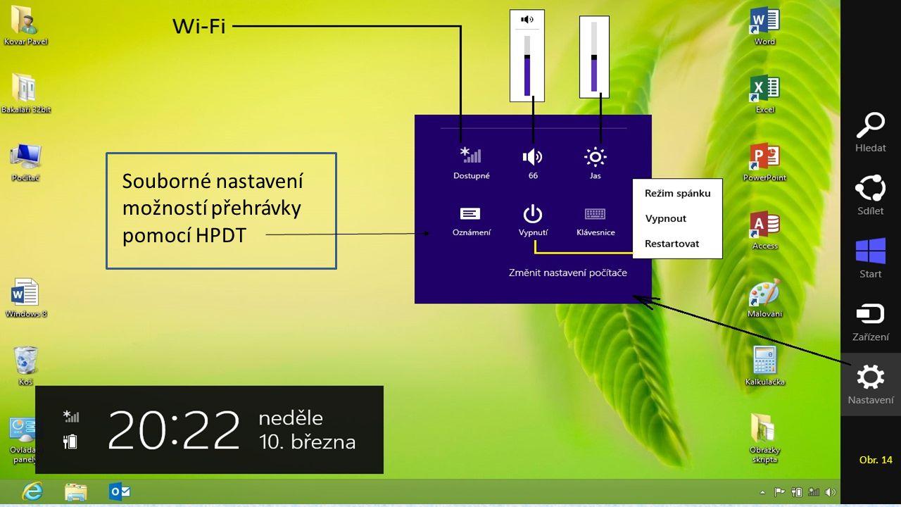 Souborné nastavení možností přehrávky pomocí HPDT Obr. 14