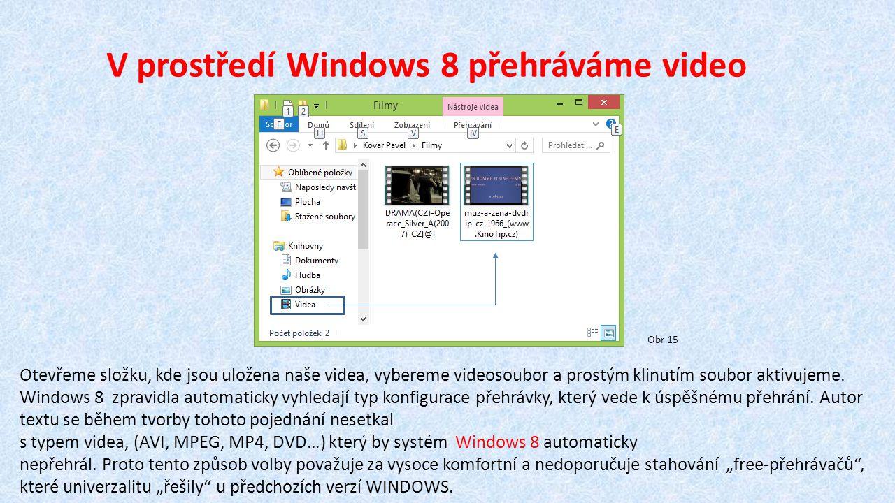 V prostředí Windows 8 přehráváme video Otevřeme složku, kde jsou uložena naše videa, vybereme videosoubor a prostým klinutím soubor aktivujeme.