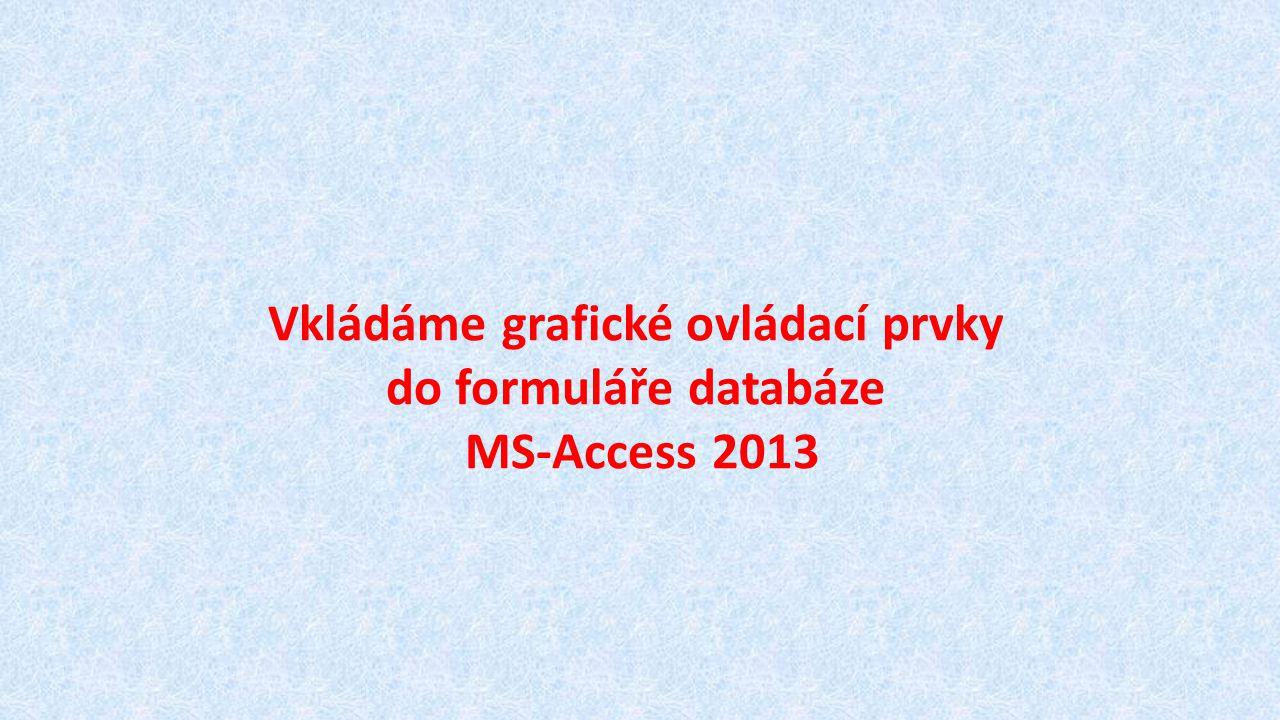 Vkládáme grafické ovládací prvky do formuláře databáze MS-Access 2013