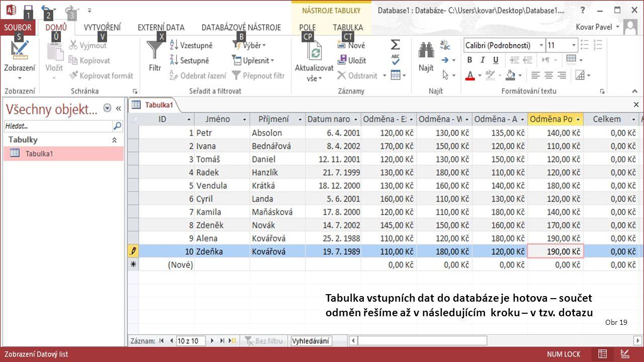 Obr 19 Tabulka vstupních dat do databáze je hotova – součet odměn řešíme až v následujícím kroku – v tzv.
