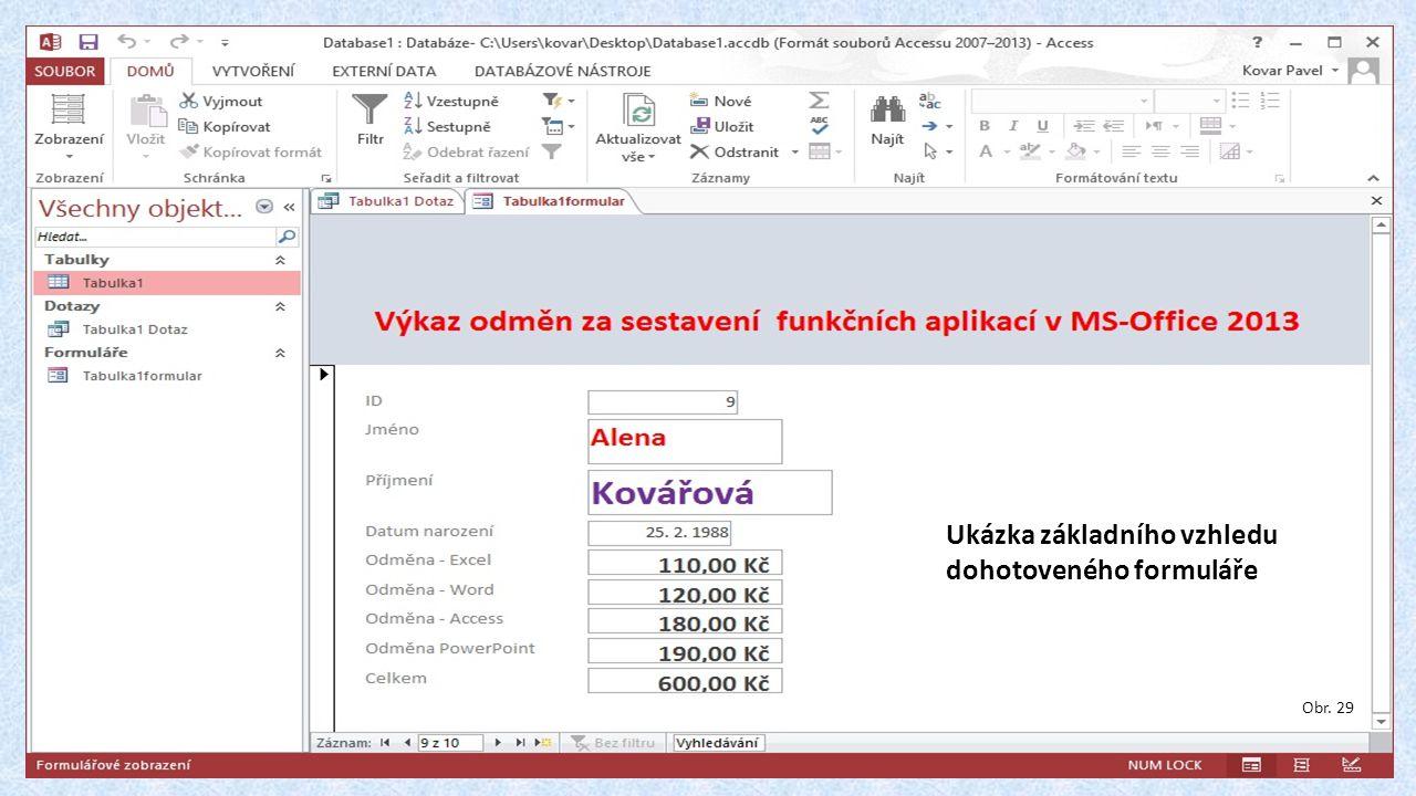 Obr. 29 Ukázka základního vzhledu dohotoveného formuláře